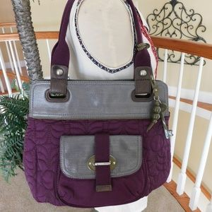 Fossil Key-Per Quilted Purple Shoulder Bag Tote